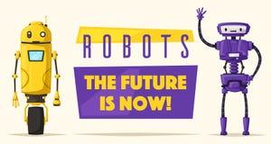 Set of robots. Technology, future. Cartoon vector illustration Royalty Free Stock Photo