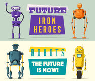 Set of robots. Technology, future. Cartoon vector illustration. Vintage style. Evolution of technologies Royalty Free Stock Image