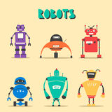 Set of robots. Vintage style. Cartoon vector illustration Royalty Free Stock Images