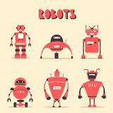 Set of robots. Vintage style. Cartoon vector illustration Royalty Free Stock Photography