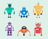 Set of robots. Vintage style. Cartoon vector illustration Stock Photography