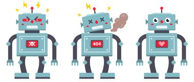 Set of robots on a white background. royalty free illustration
