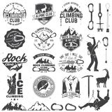 Set of Rock Climbing club badges with design elements. Vector illustration. Concept for shirt or print, stamp or tee. Vintage typography design with climber Stock Photos