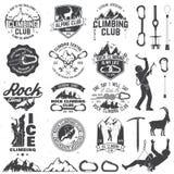 Set of Rock Climbing club badges with design elements Stock Photos