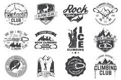 Set of Rock Climbing club badges with design elements. Vector illustration. Concept for shirt or print, stamp or tee. Vintage typography design with climber Stock Photography