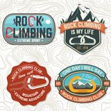 Vintage typography design with climber, carabiner and mountains. Set of Rock Climbing club badges. Vector illustration. Concept for shirt or print, stamp, patch stock illustration