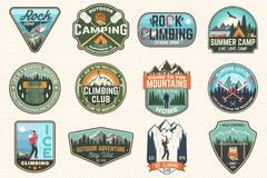Set of Rock Climbing club and summer camp badges. Concept for shirt or print, stamp, patch or tee. Vintage typography vector illustration