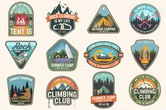 Set of Rock Climbing club and summer camp badges. Concept for shirt or print, stamp, patch or tee. Vintage typography royalty free illustration