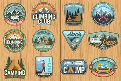 Set of Rock Climbing club and summer camp badges. Vector. vector illustration