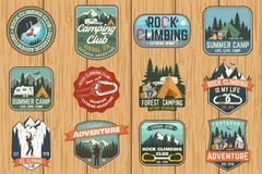 Set of Rock Climbing club and summer camp badges. Vector. stock illustration