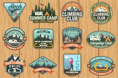 Set of Rock Climbing club and summer camp badges. Vector. royalty free illustration