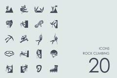Set of rock climbing icons Royalty Free Stock Photo