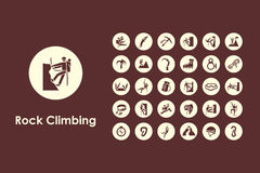 Set of rock climbing simple icons Royalty Free Stock Photography