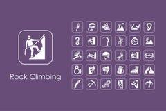 Set of rock climbing simple icons Royalty Free Stock Photos