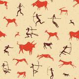 Set of rock paintings pattern. Cave drawings; Hunting peoples Vector Illustration