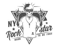 Set rock and roll gwiazda dla t tatuażu i koszula projekta Obraz Stock