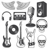 Set of rock and roll music elements. Monochrome Royalty Free Stock Image