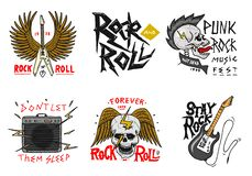 Set of Rock and Roll music symbols with Guitar, Wings and Skull. labels, logos. Heavy metal templates for design t-shirt stock illustration