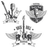 Set rock and roll muzyki emblematy Obrazy Royalty Free