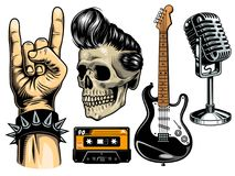 Set of rock and roll. Objects. Vector ilustration Stock Image