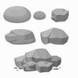 Set of Rock Stone with Different Shape.Flat vector Illustration. Stock Photos