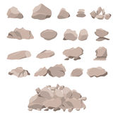 Set of rock of stones and large boulders vector illustration