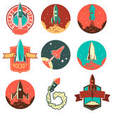 Set of the rocket labels Royalty Free Stock Photography