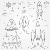 Set rockets thin line icon. Human Space Flight. Vector  Stock Photos