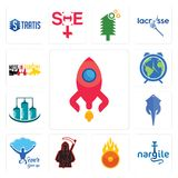 Set of rocketship, nargile, o fire, grim reaper, never give up, stingray, silo, earth hour, made in germany icons. Set Of 13 simple editable icons such as Royalty Free Stock Photography