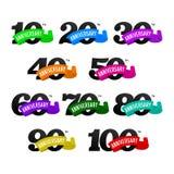 Set rocznicowi emblematy od 10 100 Liczby z ribons Zdjęcia Stock