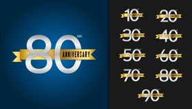 Set rocznicowy logotyp Rocznicowy świętowanie emblemat z royalty ilustracja
