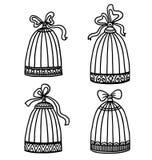Set roczników birdcages ilustracja wektor