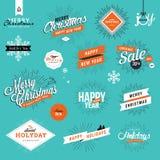 Set roczników boże narodzenia, nowy rok elementy i majchery i royalty ilustracja