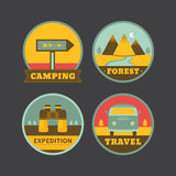 Set roczników campingowi logowie Obraz Royalty Free