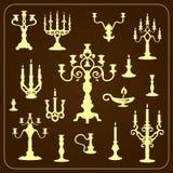 Set roczników candlesticks openwork metalu klingeryt Obrazy Royalty Free