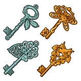 Set roczników klucze Odizolowywający na Białym tle Kreskówki zakończenia wektorowa ilustracja Zdjęcia Royalty Free
