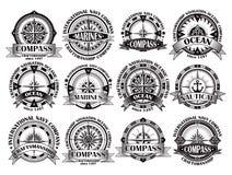 Set roczników kompasy z meandruje różanego Fotografia Royalty Free