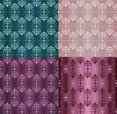 Set roczników ornamentów Bezszwowi wzory z kwiatów projektami w Damaszek stylu claret tła wektoru ilustraci ilustracja wektor