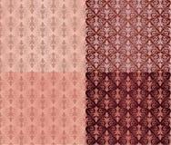 Set roczników ornamentów Bezszwowi wzory z kwiatów projektami w Damaszek stylu claret tle ilustracji