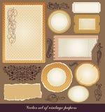 Set roczników różnorodni papiery ilustracja wektor