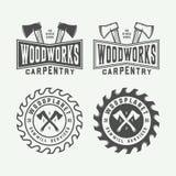 Set rocznik ciesielka, woodwork i mechanik etykietki, odznaki, royalty ilustracja
