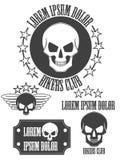 Set rocznik czaszki etykietki, odznaki i projektów elementy, wektor Obrazy Royalty Free