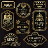 Set rocznik etykietki w złocie royalty ilustracja