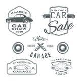 Set rocznik, klasyczny samochód usługuje etykietki ilustracja wektor