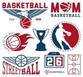 Set rocznik koszykówki etykietki i odznaki Zdjęcia Royalty Free