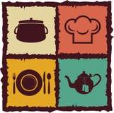 Set rocznik kuchni elementy Obrazy Royalty Free