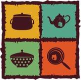 Set rocznik kuchni elementy Fotografia Stock