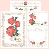 Set rocznik Ślubne karty ilustracji