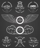 Set rocznik odznak samochodu garaż i klub ilustracji
