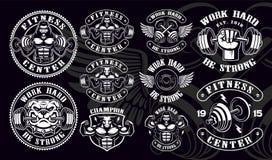 Set rocznik odznaki, logo, koszula projekty dla gym ilustracja wektor